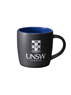 Black mug with a contrast interior available in three colours, white UNSW logo on the front - blue