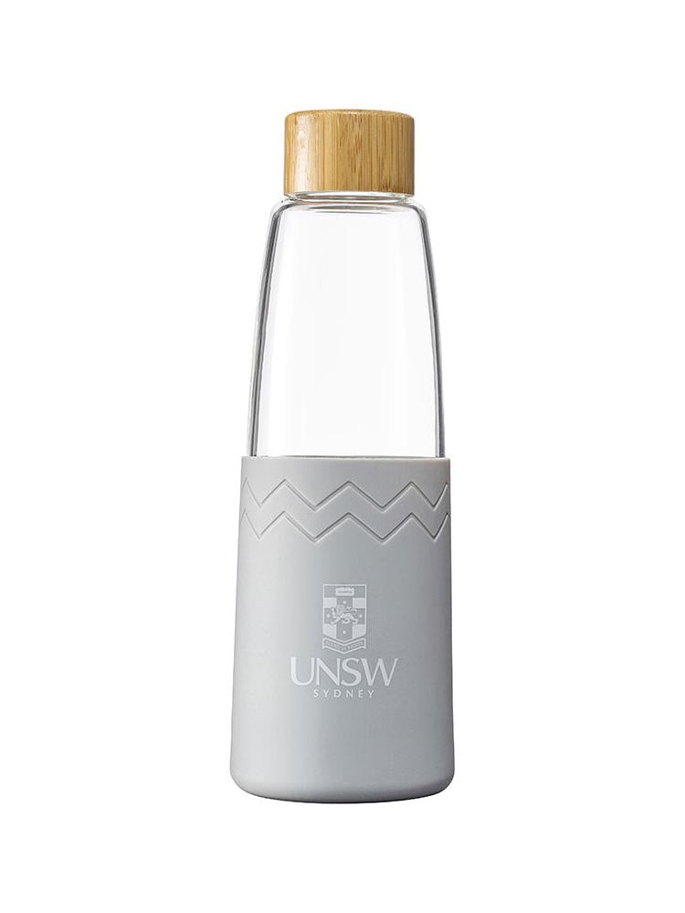 Glass SOL bottle with a bamboo lid and coloured silicon sleeve with the UNSW logo - cool grey colour