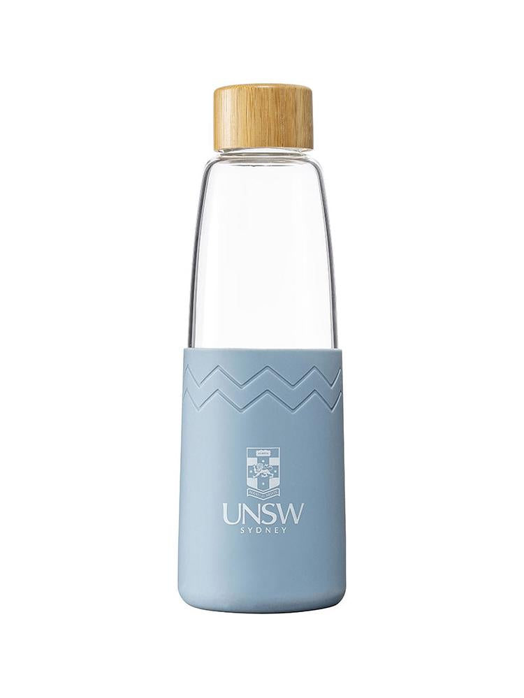 Glass SOL bottle with a bamboo lid and coloured silicon sleeve with the UNSW logo - blue stone colour