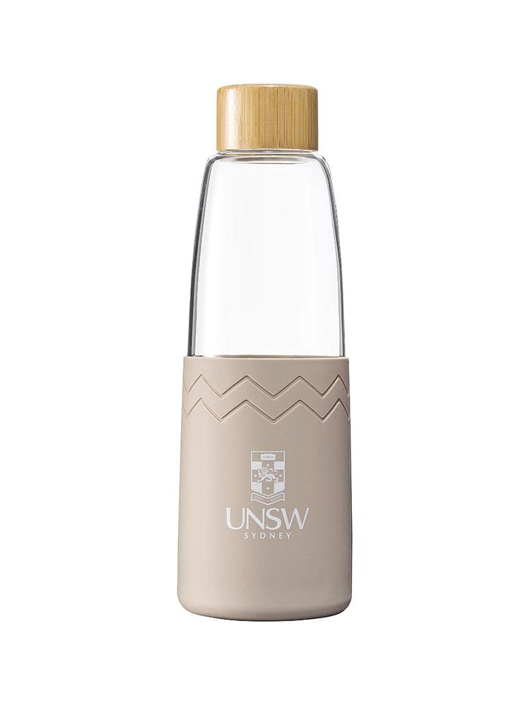 Glass SOL bottle with a bamboo lid and coloured silicon sleeve with the UNSW logo - sea side slate colour