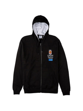 Black hoodie with a white hood lining featuring the UNSW full colour logo and AGSM logo on the breast