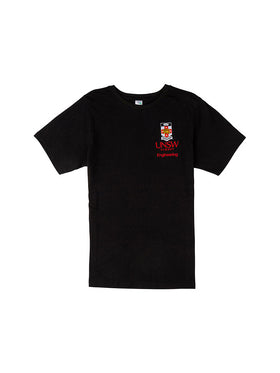 Black t-shirt with the UNSW colour crest and red Engineering text underneath