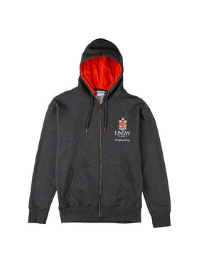 Grey zip hoodie with a red hood lining featuring the UNSW full colour logo and Engineering text on the breast