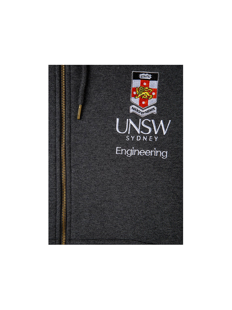 Grey zip hoodie with a red hood lining featuring the UNSW full colour logo and Engineering text on the breast - logo view