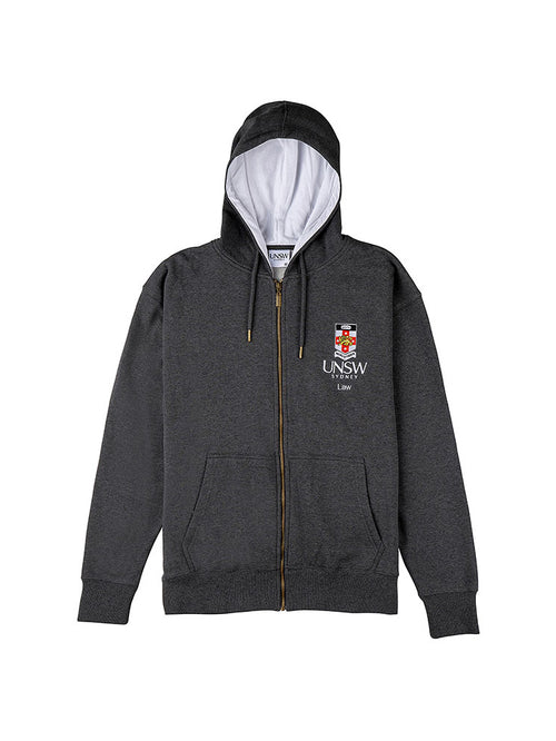 Grey zip hoodie with a white hood lining featuring the UNSW full colour logo and Law text on the breast