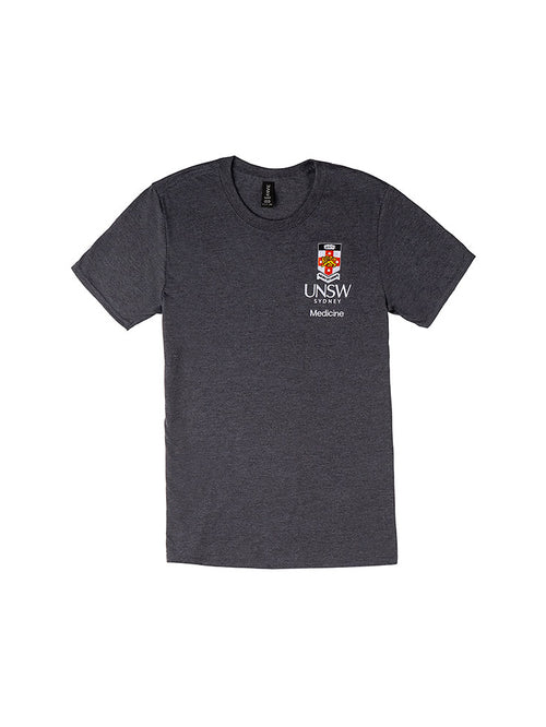 Grey t-shirt with a UNSW colour logo on the breast and Medicine text underneath