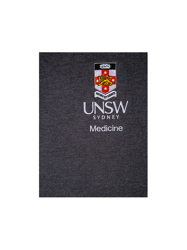 Grey t-shirt with a UNSW colour logo on the breast and Medicine text underneath - logo view