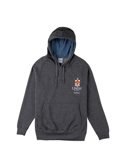 Grey hoodie with a blue hood lining featuring the UNSW full colour logo and Science text on the breast