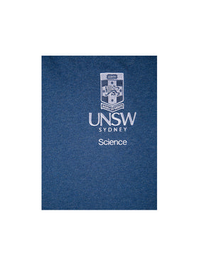 Blue t-shirt with the UNSW logo in white on the breast and Science text underneath - logo view