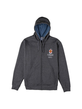 Grey hoodie with a blue hood lining featuring the UNSW full colour logo and science text underneath