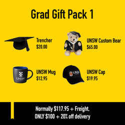 Graduation Gift Pack with Trencher Hat, UNSW Custom Bear, UNSW Mug, and UNSW Cap