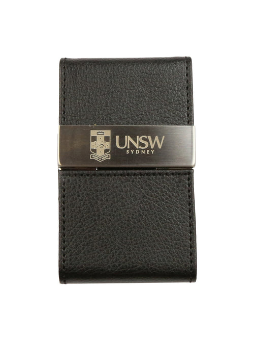 Faux leather business card holder with the UNSW logo on a brushed steel plate - front view