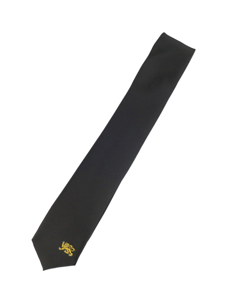 Black skinny tie with a small embroidered UNSW lion on the bottom