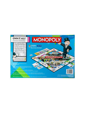 UNSW Monopoly box with UNSW and AGSM logos - game view