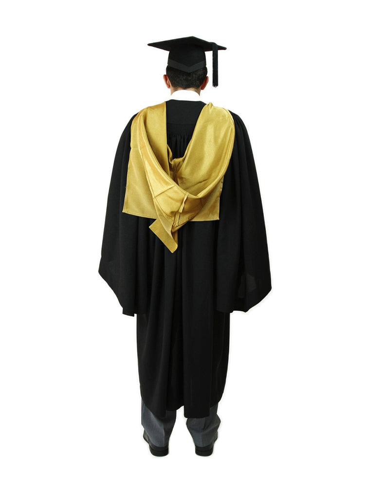A full-shaped gold cape that covers the shoulders, and a cowl with a liripipe tail