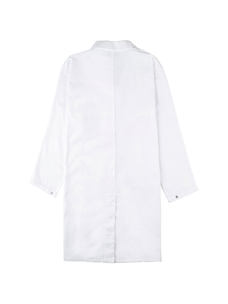 White lab coat with the UNSW colour logo emroidered on the breast - back view