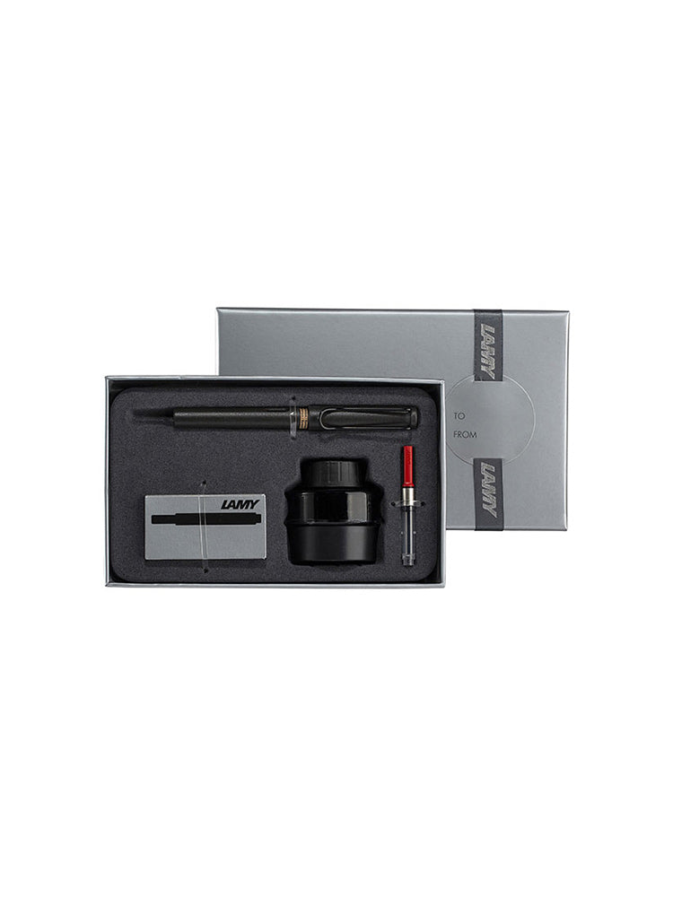 LAMY Fountain Pen Starter Kit including a fountain pen, converter, ink bottle and ink cartridges