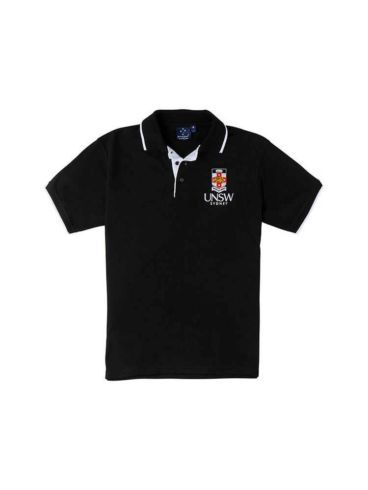 Black polo shirt with a UNSW colour logo on the breast - front view