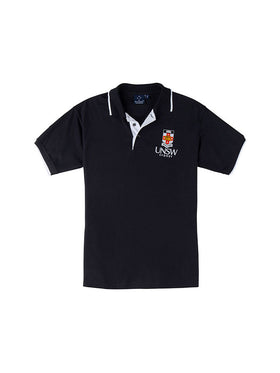 Navy polo shirt with a UNSW colour logo on the breast