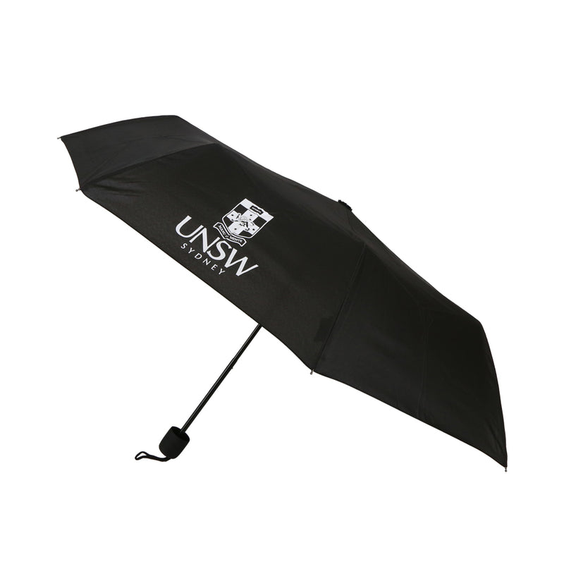 Black 98cm umbrella with the UNSW logo in white