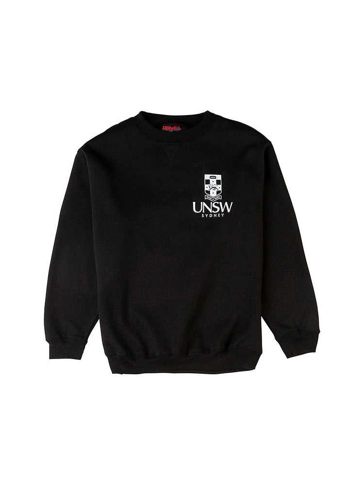 Black Essentials Crew Neck with a white UNSW logo on the breast