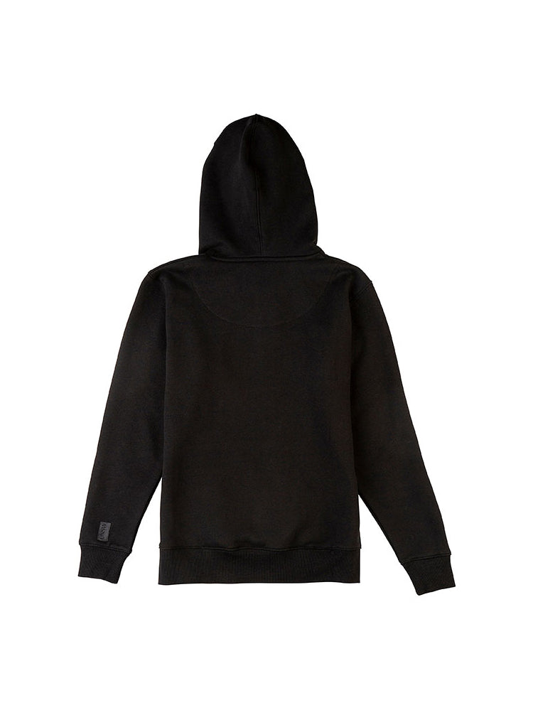 Black hoodie with a large embroidered UNSW colour logo on the chest and grey drawstrings - back view