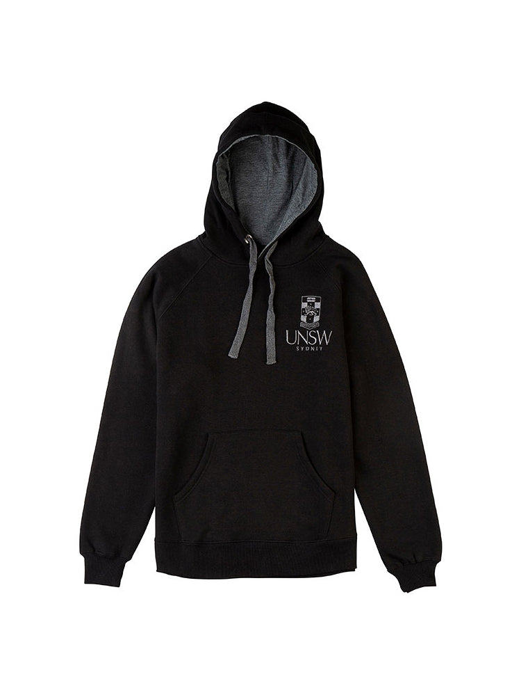 Black hoodie with kangaroo pockets and a grey embroidered UNSW logo on the breast