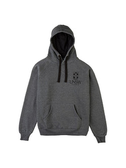 Charcoal hoodie with kangaroo pockets , black drawstrings and a grey embroidered UNSW logo on the breast