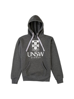 Grey hoodie with a large UNSW logo screenprinted on the front