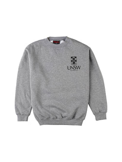 Grey Essentials Crew Neck with a white UNSW logo on the breast