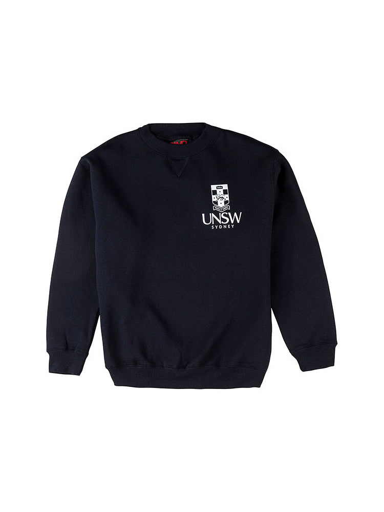 Navy Essentials Crew Neck with a white UNSW logo on the breast