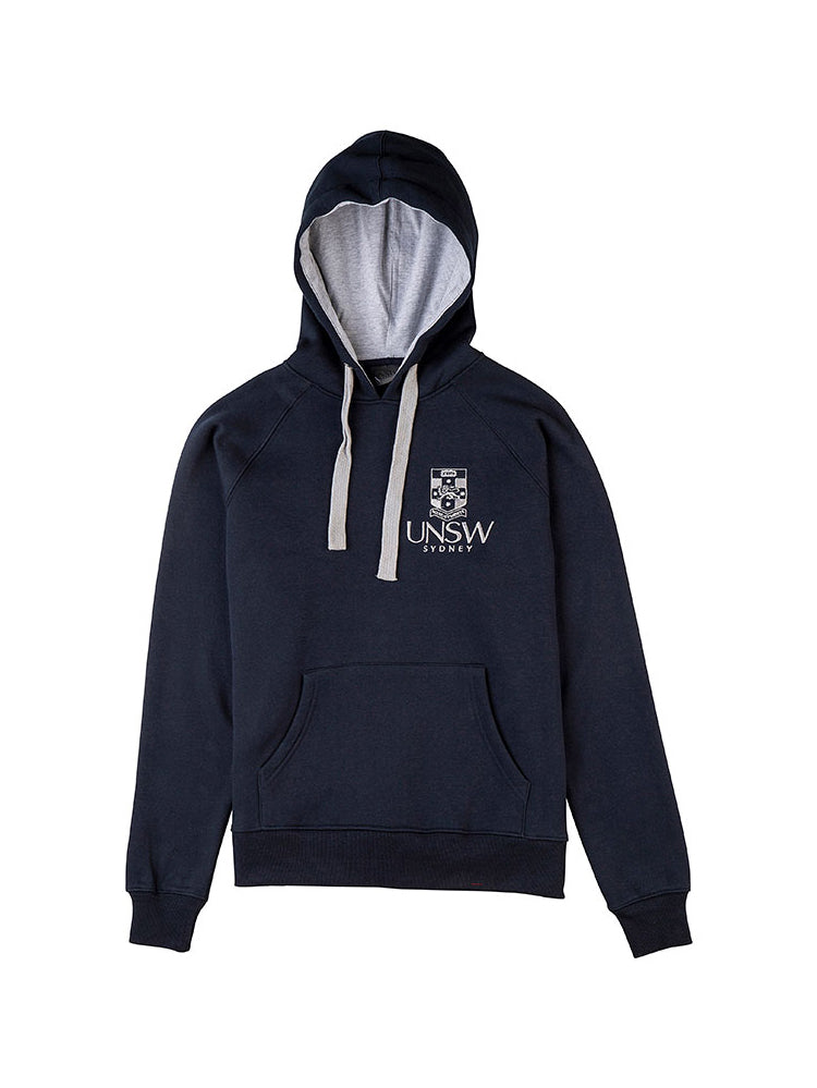 Navy hoodie with kangaroo pockets and a grey embroidered UNSW logo on the breast