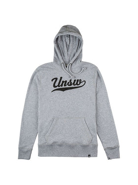 Grey hoodie with black script UNSW text
