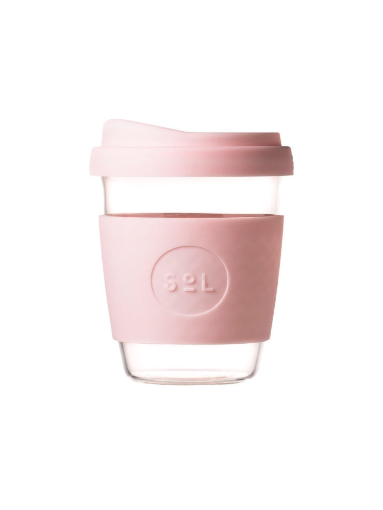 Glass SOL coffee cup with a coloured lid and silicon grip available in eight colours, UNSW logo on the grip - Perfectly Pink