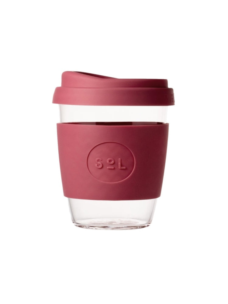 Glass SOL coffee cup with a coloured lid and silicon grip available in eight colours, UNSW logo on the grip - Radiant Rose