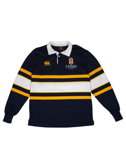 Navy rugby jersey with a white collar, yellow and gold horizontal stripes, the UNSW logo and the Canterbury logo on the chest