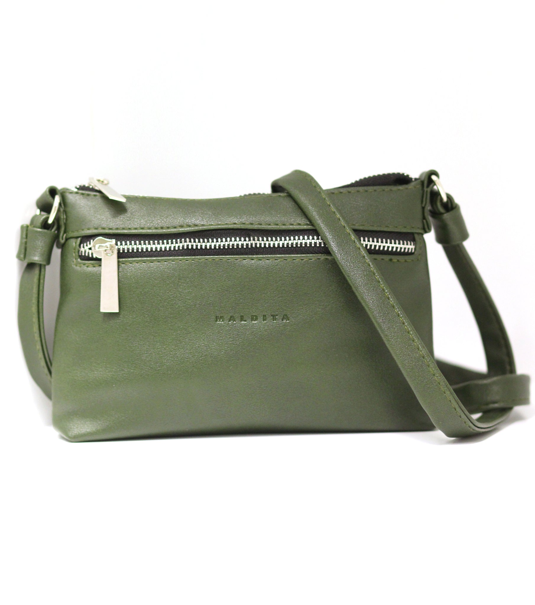 Faux Leather Mini Shoulder Bag (Green)