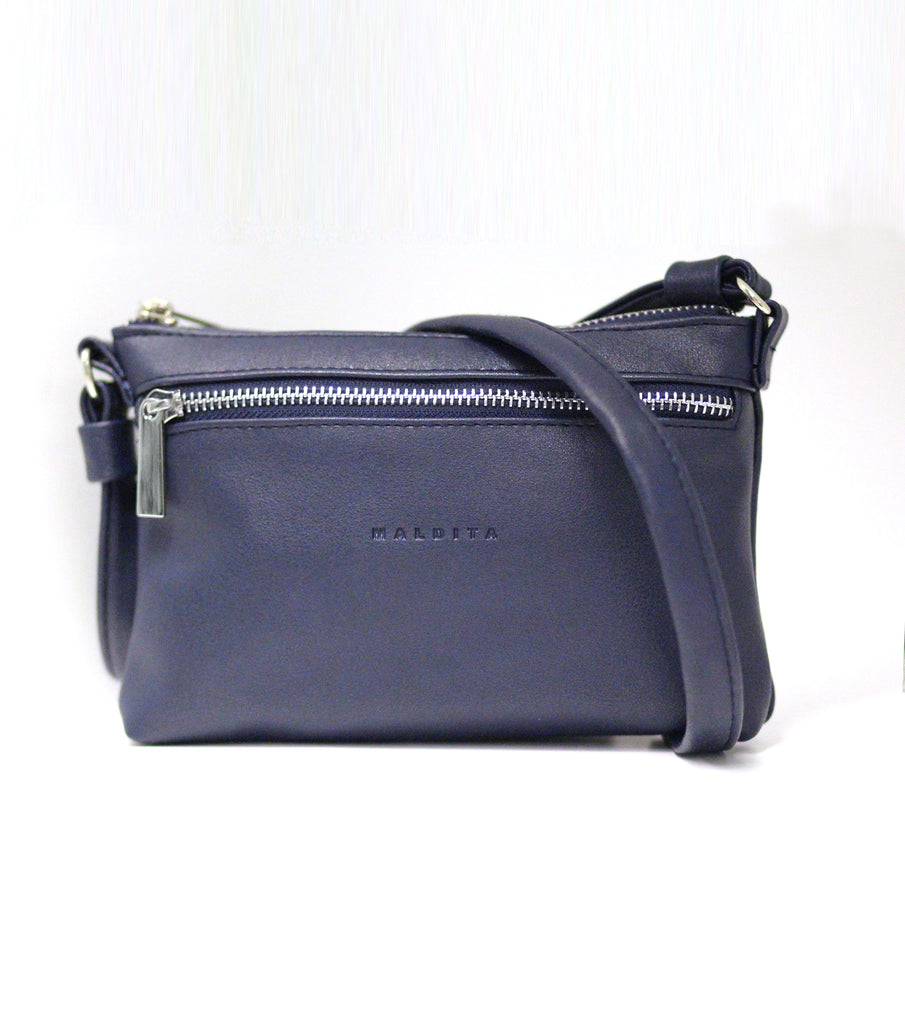 Faux Leather Mini Shoulder Bag (Blue)