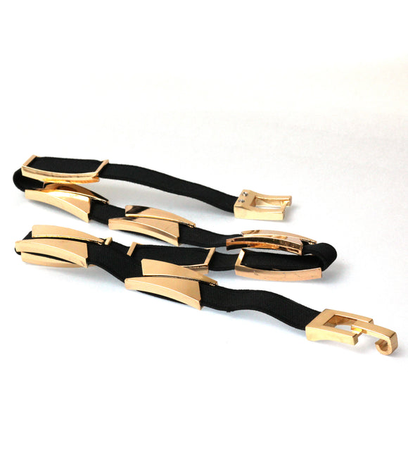 Garterized Metal Detail Belt