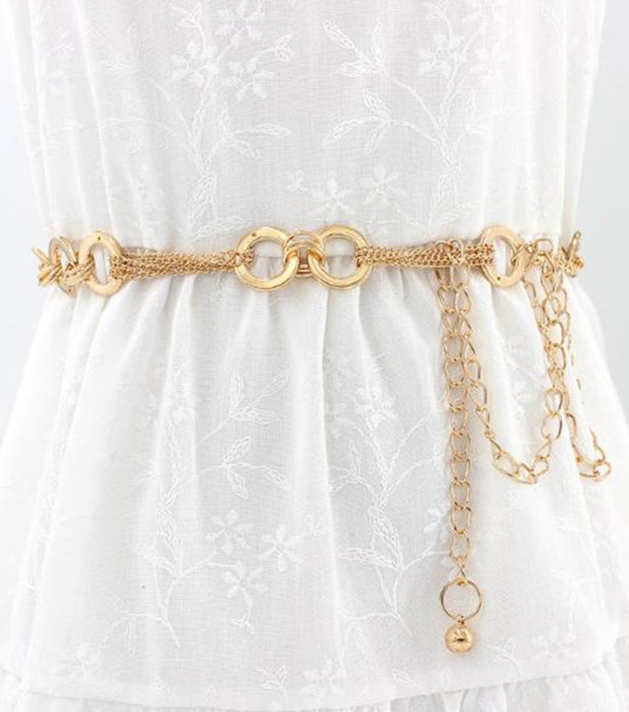 Linette Metal Waist Chain w/ Gold Buckle