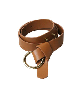 Ring Buckle Knotted Leather Belt (Camel)
