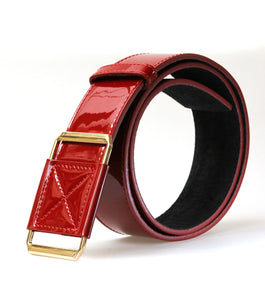 High Waist Leather Belt (Red)