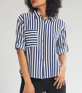 Kira Long Sleeves Striped Top (Blue)