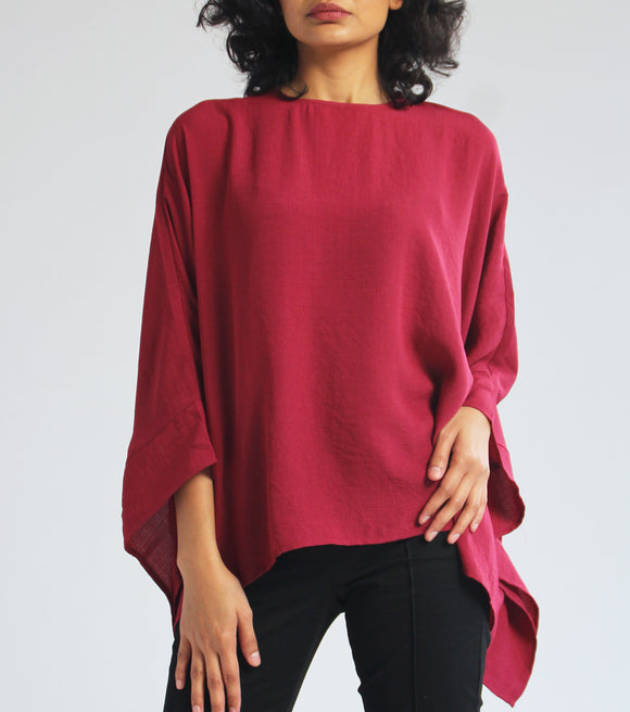 Liz Long Sleeves Scoop Neck Poncho (Red)