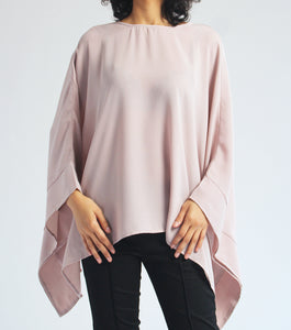 Liz Long Sleeves Scoop Neck Poncho (Taupe)
