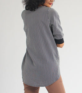 Kim Stripes Quarter Sleeves Long Back Top (Black)