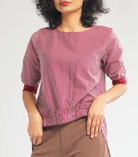 Load image into Gallery viewer, Kim Stripes Quarter Sleeves Long Back Top (Maroon)