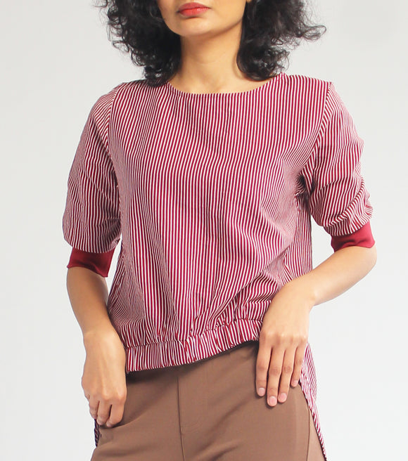 Kim Stripes Quarter Sleeves Long Back Top (Maroon)