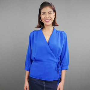 Inah 3/4 Sleeves Wrap Around Top
