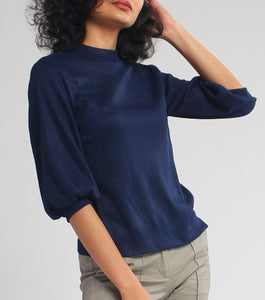 Brianna Quarter Sleeves Textured Knit Blouse